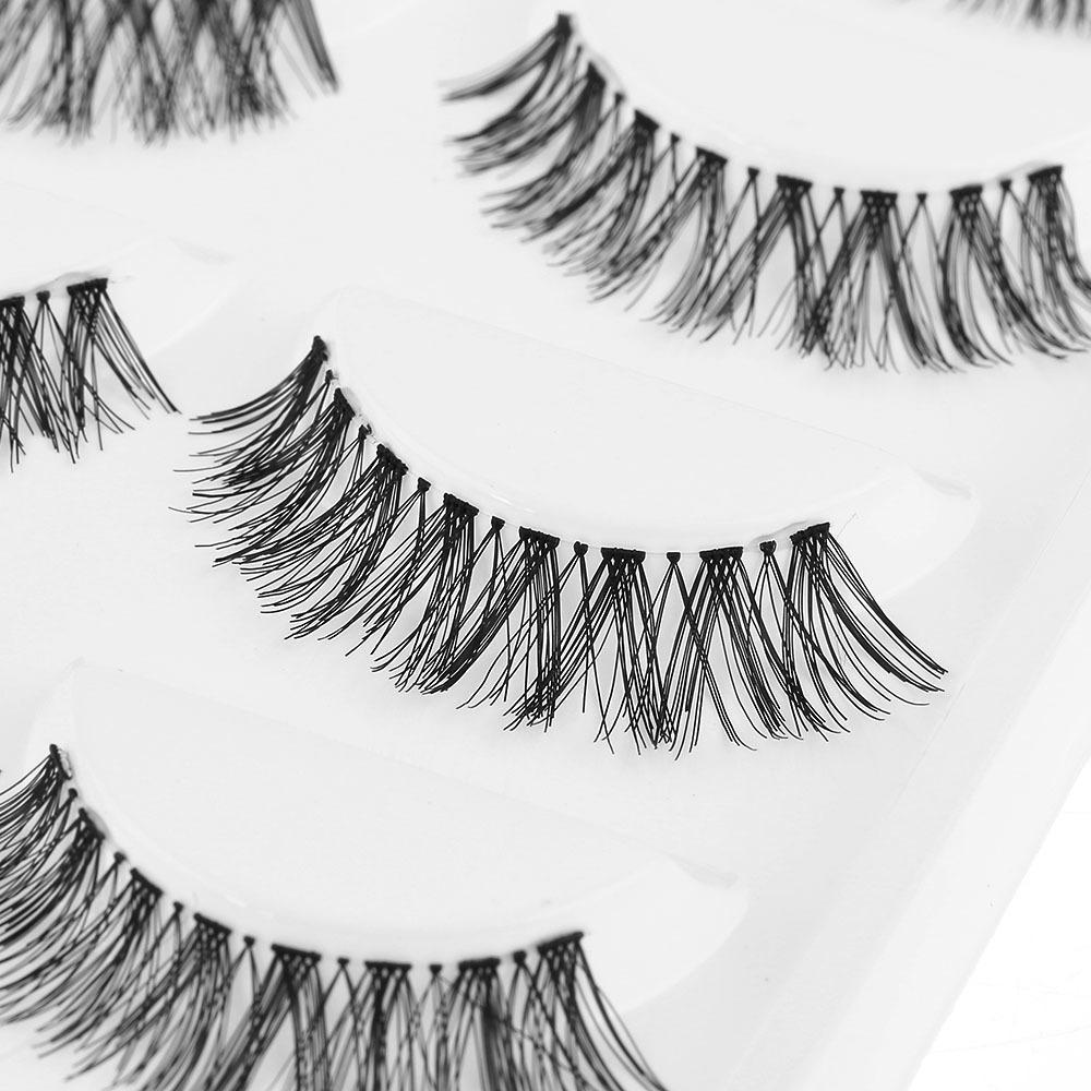 5 Pairs Siyah Çapraz Yanlış Kirpik Doğal Uzun Kirpik Büyük Makyaj Sahte Göz Lashes Uzatma Araçları