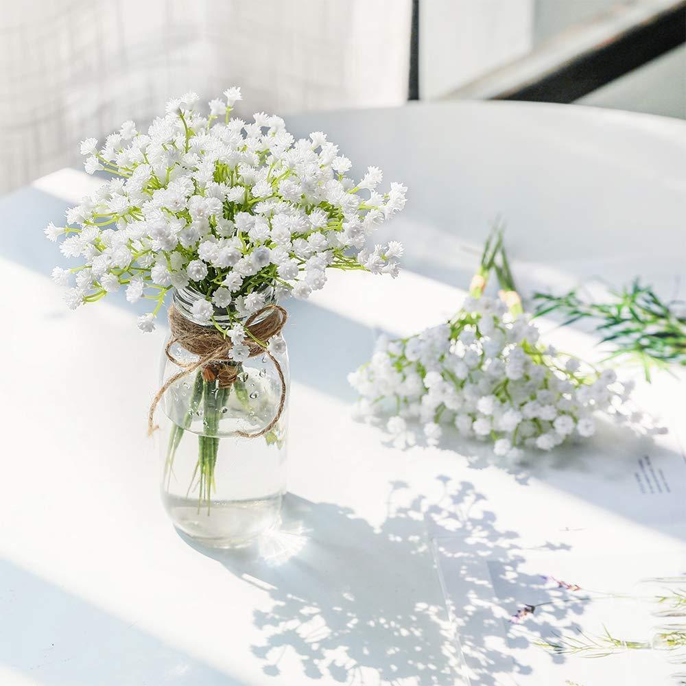 1 Unidades Blanco Bebés Respiración Flores Artificiales Falsas Gypsophila DIY Floral Ramos Arreglo de Boda Decoración para el Hogar