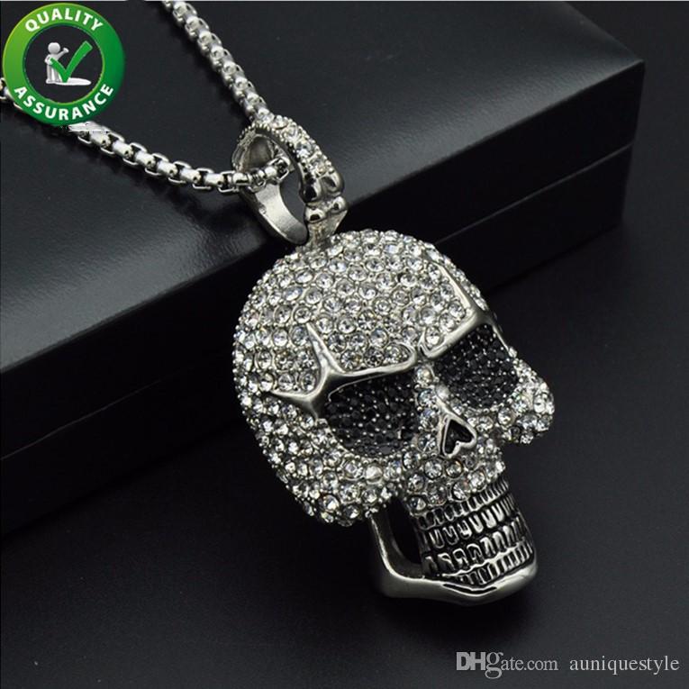 Ghiacciato fuori Designer catene collana di Hip Hop monili del Mens diamante di scheletro pendenti del cranio di titanio Bling Punk Rapper