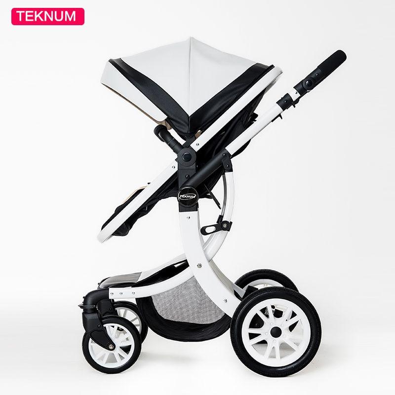 Teknum 2 In 1 High Landscape X Design Baby Stroller newborn baby pram Six Free Gift HK free delivery 0-3 year Leather Pram