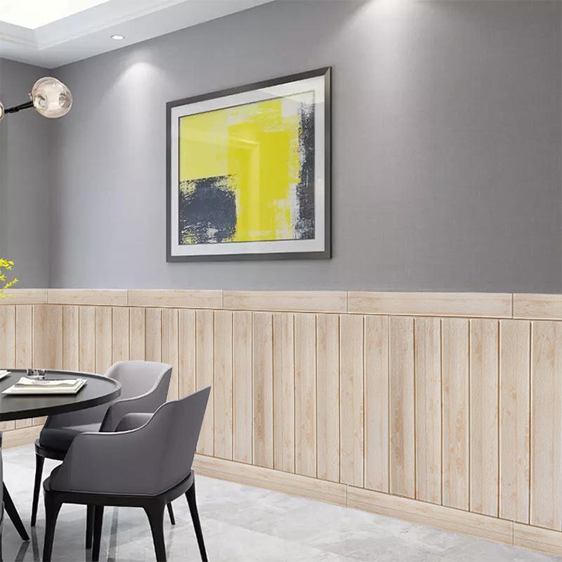 Pegatinas de pared de grano de madera 3D Estéreo de kindergarten espuma papel tapiz autoadhesivo impermeable impermeable Fondo de pantalla Simulación de choque Tablero de madera