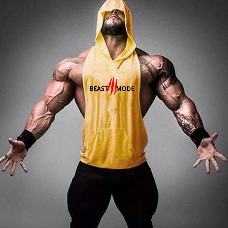 Erkekler Yaz Yeni Casual Spor Kolsuz Egzersiz Ter Hoody Yelek Gym Fitness Kişiselleştirilmiş Kapşonlu Tank Tops