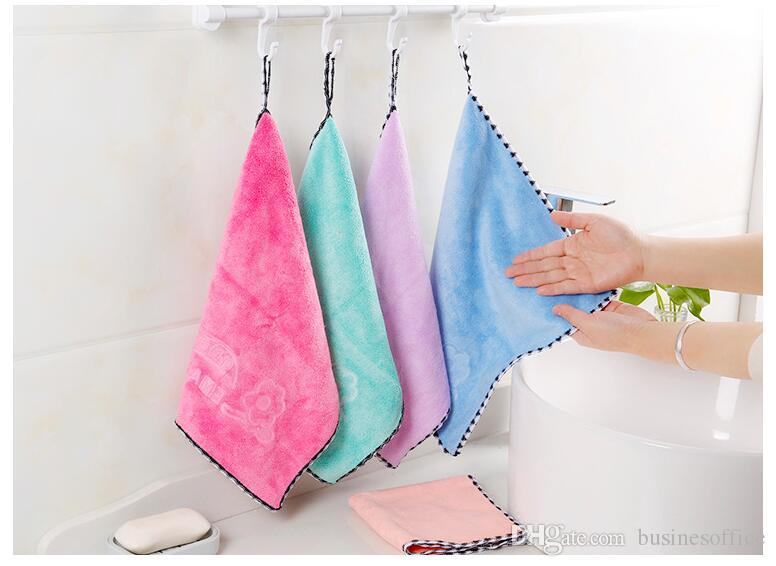 Kitchen towel hanging type super absorbent candy color thickening hand towel