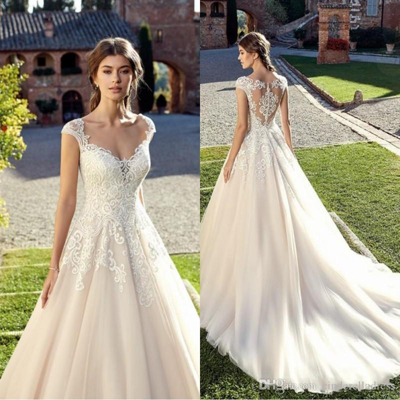 2020 Vintage Lace A Line Wedding Dresses Applique V Neck Floor Length Wedding Dress Bridal Gowns robes de mariée vestido de novia BC1094
