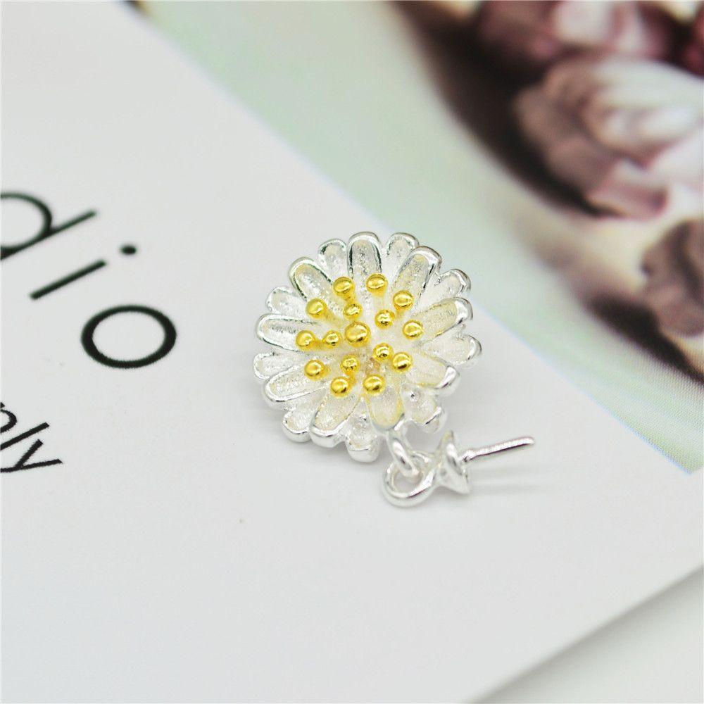 S925 perle argent sterling collier pendentif perle pendentif avec un support d'air et un collier pendentif avec une marguerite Pend de fleurs mille couches