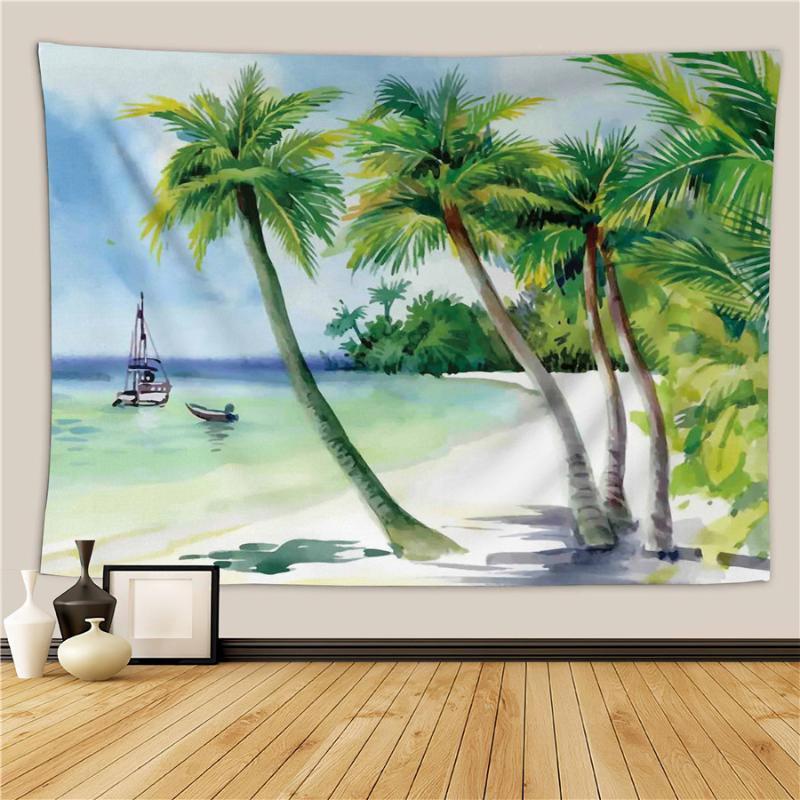 Sandy Beach Piknik Kilim Kamp Çadırı Uyku Pad atın Asma HELENGILI Ev Mobilya Hindistan cevizi Ağaçlar Goblen Duvar