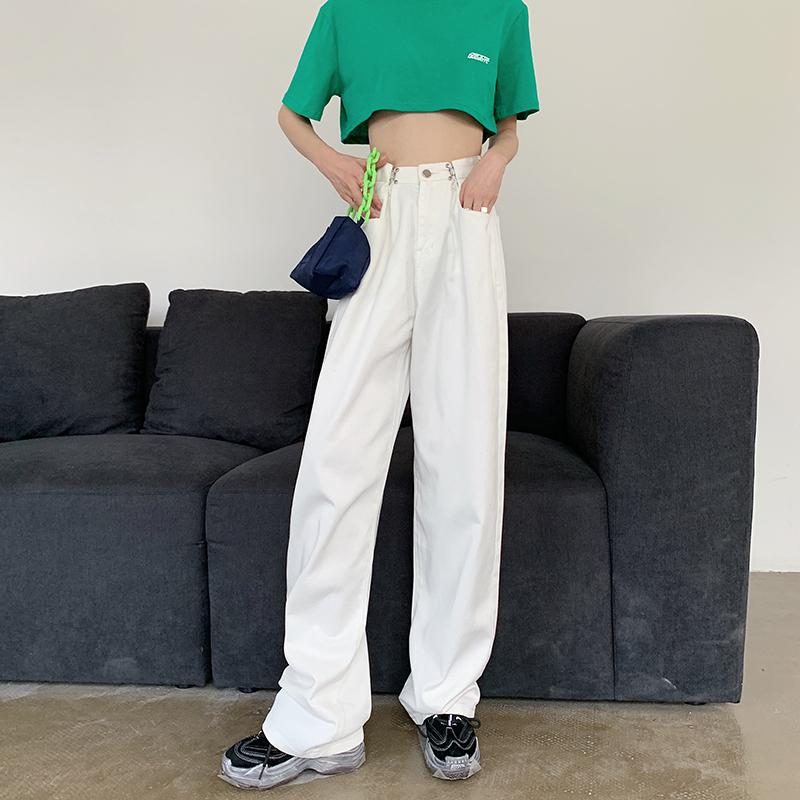 Women Brief Casual White Denim Jeans BF high waist jeans ruffle mopping trousers BF loose wide leg straight long pants