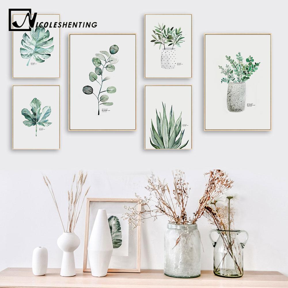 Acheter Aquarelle Plantes Feuille Affiche Sur Toile Nordique Style Imprimer Scandinave Mur Art Peinture Décoration Photos Minimaliste Décor à La
