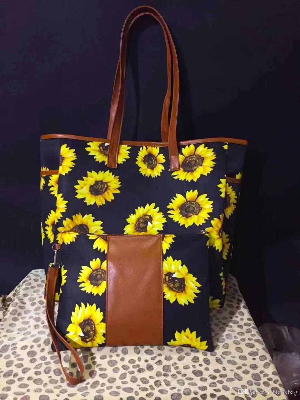 De haute qualité nouvelle impression de tournesol patchwork de conception sac fourre-tout avec un petit sac à main de femmes wristlet Buffalo plaid poignée sac sac à bandoulière léopard