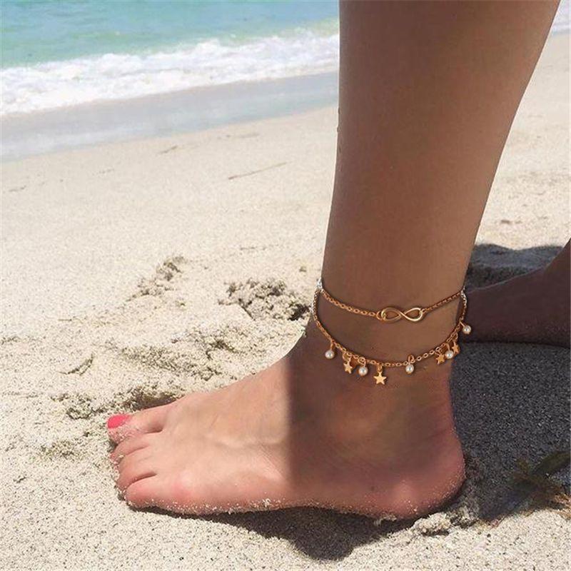 Симпатичные двухслойные ножные браслеты женщины Женщина Шарм лодыжки браслет звезда пляж ноги ювелирные изделия