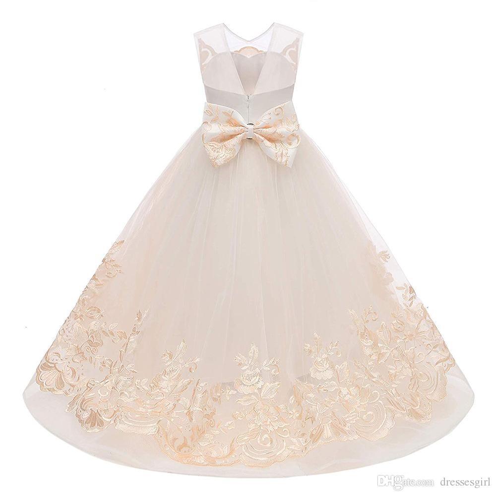 Lindo Champanhe vestido de Baile Vestidos Da Menina de Flor Foto Real V Cortar Apliques Puffy Tule Pageant Meninas Vestido Formal Dos Miúdos