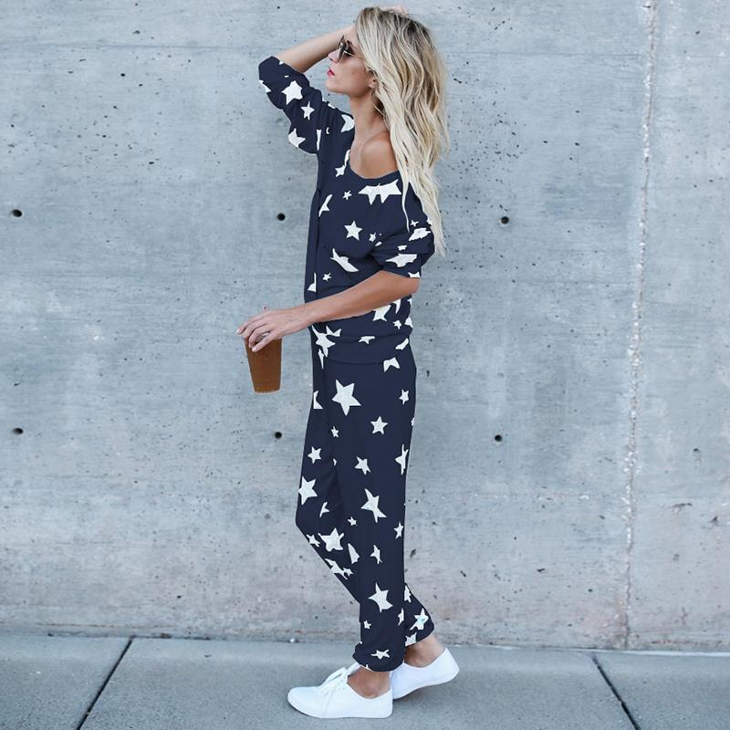 O-Neck Mulheres Define Casual Suit Estrela impresso Lazer Lady Moda Tops e calças compridas 2 Pieces Set Mulheres Treino Streetwear fêmea famoso