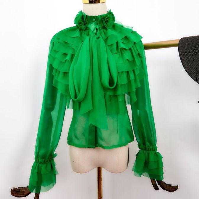 Plus Size Summer Blouse Donna Nuova piega di manica lunga stand collare chiffon camicetta signore increspature Camicie Blusas Mujer De Moda 2020