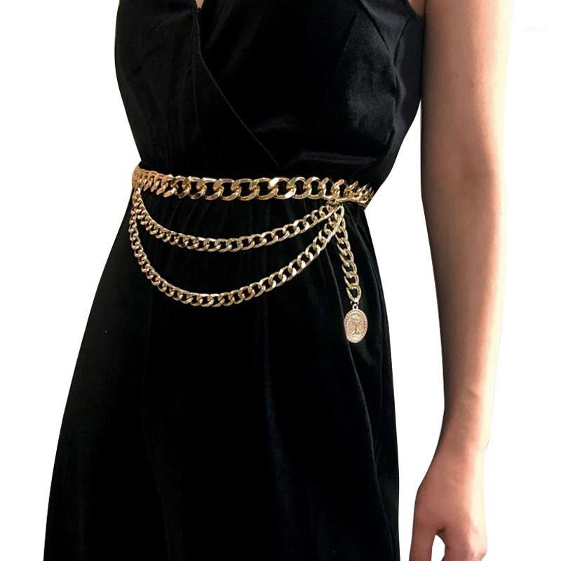 Nappa della catena della cinghia del metallo per le donne Retro punk della frangia della vita Silver Gold cinghia del vestito di marca delle signore Femminile 4801
