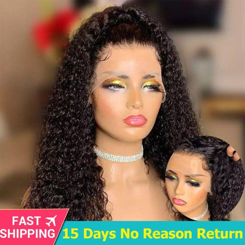 HD 투명 레이스 인간의 머리 가발 아기 머리 글루리스 브라질 레미 곱슬 전체 레이스 인간의 가발 블랙 여성