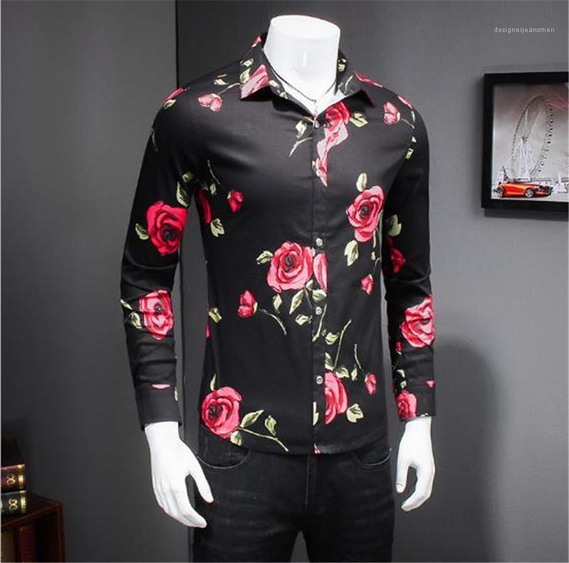 Modello della Rosa camice del Mens casuali Maschi Abbigliamento Primavera Uomo Camicie Casual Moda risvolto del collo a maniche lunghe