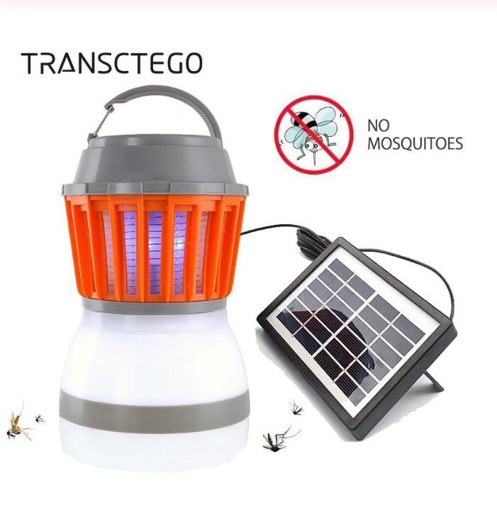 Güneş Sivrisinek Killer Lambası Açık Bug Zapper Tuzak Kamp Fener 2in1 Taşınabilir USB Anti Mosquito Sinek Böcek Öldürücü Çadır Işık