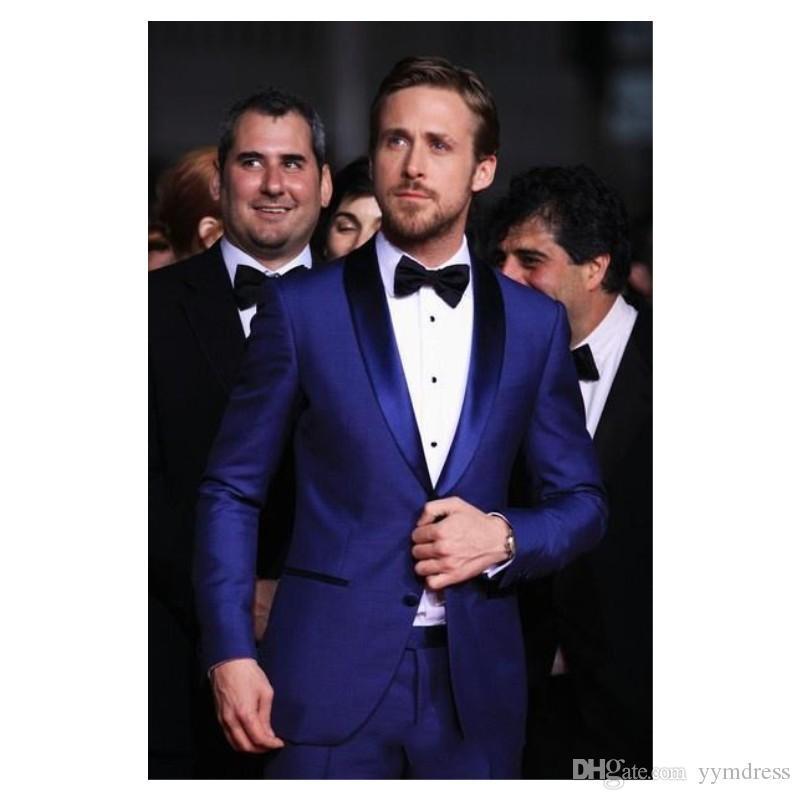 Royal Blue MenTuxedos Preparação Casamento 2019 Suits Two Pieces Slim Fit Negócios Mens Groomsmen Tuxedo baratos Prom Terno (camisa + calça + TIE)