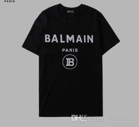 XXL la camiseta de los hombres de las mujeresBalmain camiseta de algodón calle de la moda de manga corta para mujer casual en blanco y negro