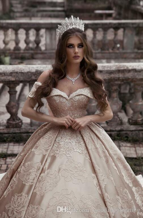 Off Shoulder Ball Gown Flower Lace Wedding Dresses 2019 Princess