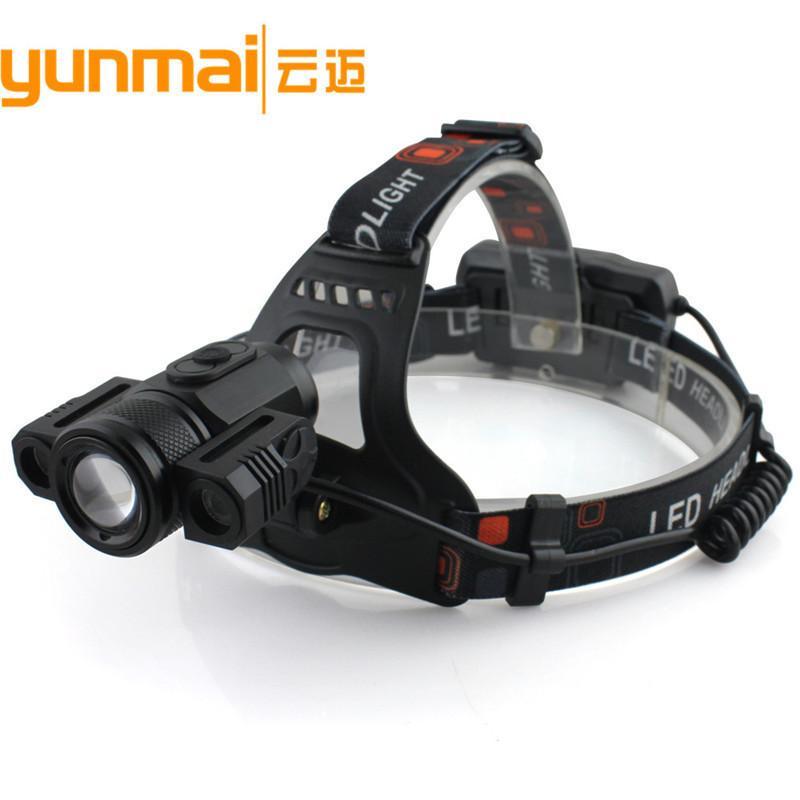 Novo Padrão 3LED Luz Faróis 180 ° Rotating suporte da lâmpada carga USB Faróis T6 Focando lâmpada de faróis Miner