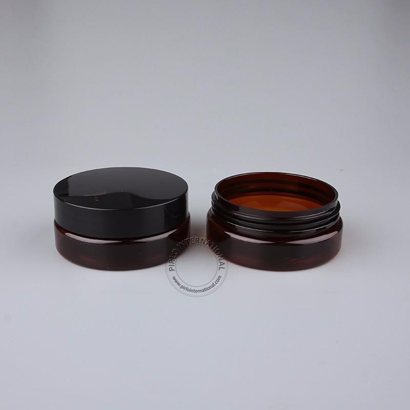 50 x 50 g Bernstein Plastiksahneglas PET-Gesichtsschablone Flasche 50cc Bernstein kosmetische Behälter nachfüllbare Flasche mit Deckel Kostenloser Versand