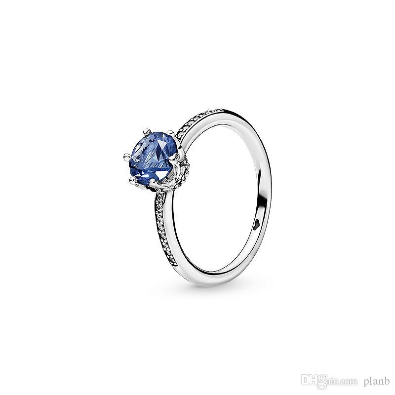 Blu scintillante corona anelli originale scatola per Pandora 925 sterling argento cz diamante Diamond wedding regalo regalo set