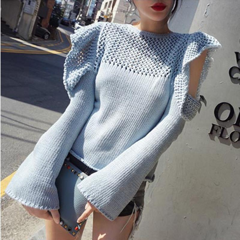 [EWQ] 2019 Outono Nova Gancho Flor oco alargamento da luva bordada com capuz Ladies Knit Top alargamento Sleeve Slim-fit apertado camisola QL22105