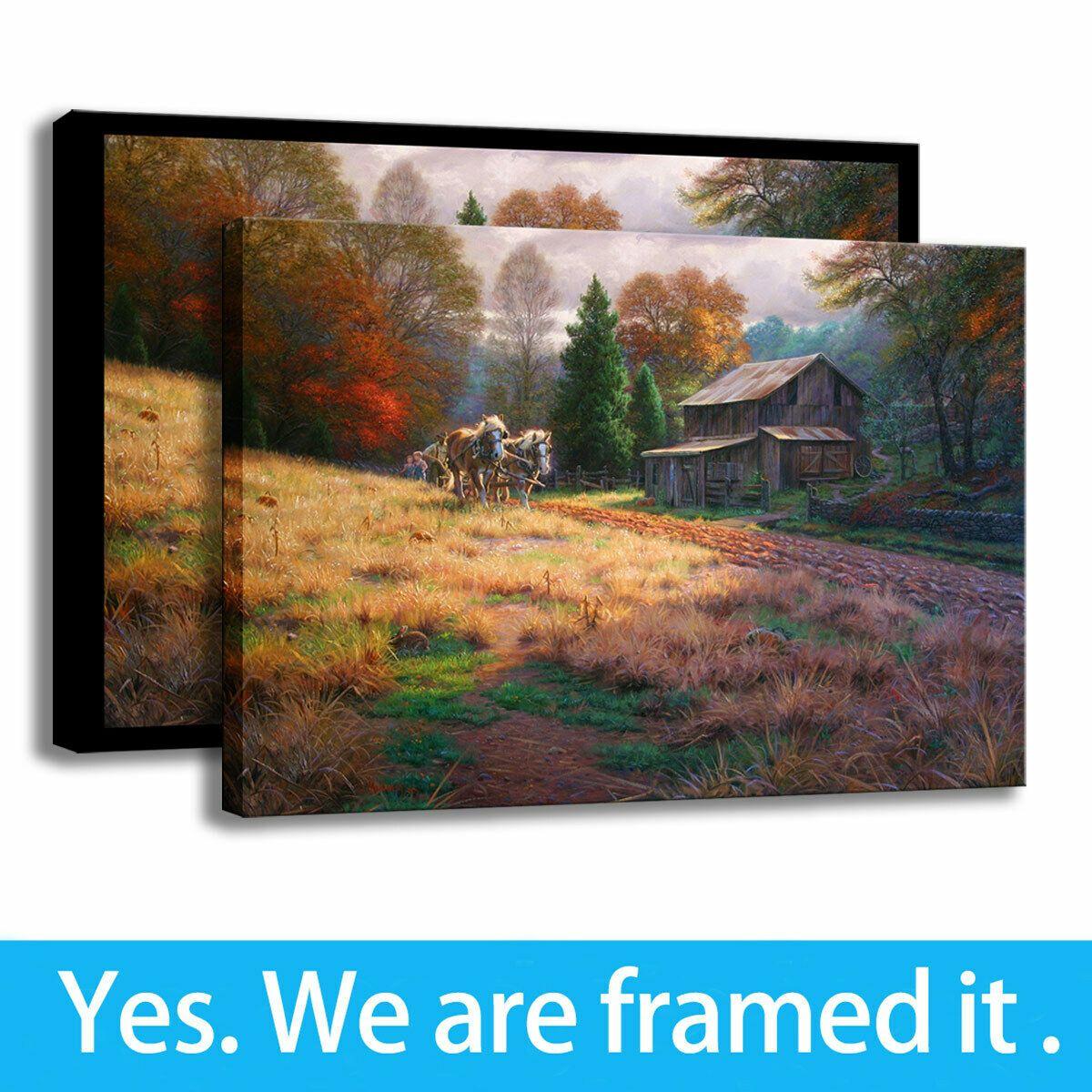 Decorazione dell'ufficio dipingere paesaggi di arte della parete su tela Stampa Autunno olio cabina di verniciatura - pronta per essere appesa - Framed
