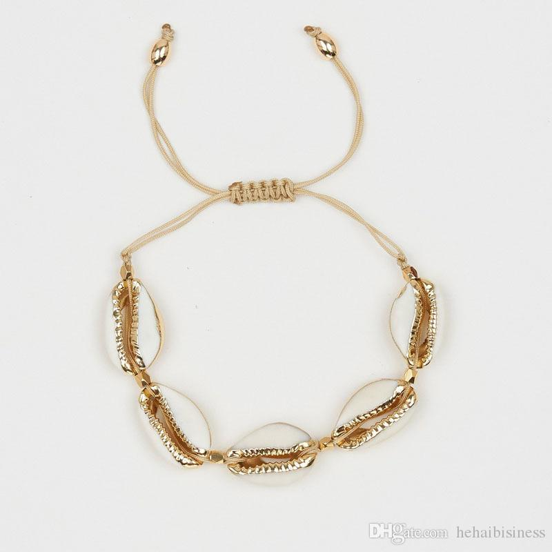 Bracelet for female Fashionable Golden Seashell Weave Adjustable Natural Sea Shell Bracelet Beads Woven Shell Bracelet