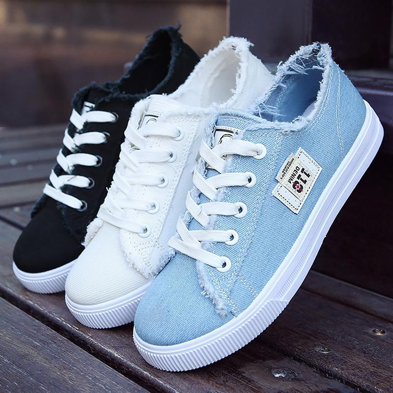Flat Shoes Woman Canvas Synthetic Solid Fashion Girls Sneaker Womens Shoes Cheap Sapato Feminino Fabric Casual Shoes Rubber MX190816