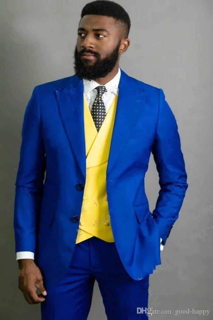 Mode bleu royal smokings marié Pic Slim Fit Lapel Blazer Hommes Epoux Costumes formels Prom Party Costumes (veste + pantalon + Tie + Gilet) 788