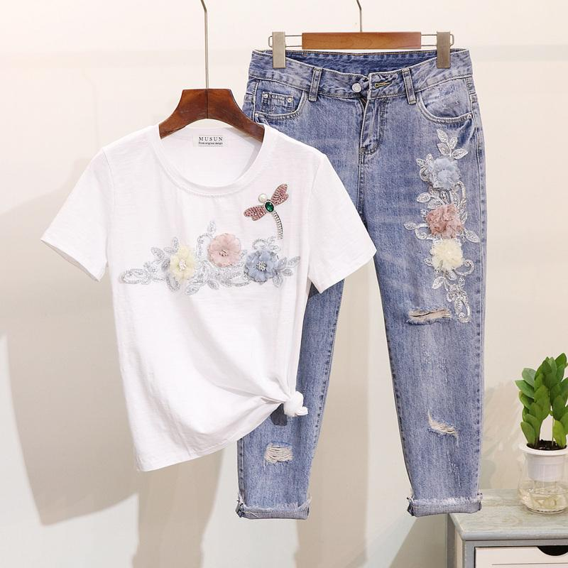 2019 Spring Summer Women Dragonfly Flower Short Sleeve T-shirt + Broken Hole Nine Points Jeans Pants Two Piece Set Casual Suits