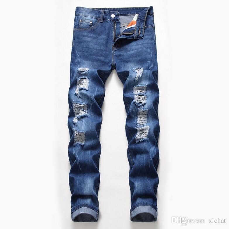حجم كبير رجل كلاسيكي مستقيم الساق ممزق جينز مصمم الأزياء يتأهل غسلها الصلبة هول السائق الهيب هوب الأزرق الدينيم السراويل JB2