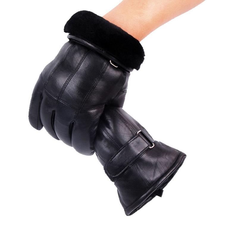 Мужская натуральная кожа перчатки Зимние перчатки Кожа Модные овчины Gentmen Luvas Guantes Mujer Winter New 2019 сгущает перчатки T200111