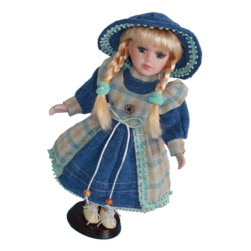 30CM belle poupée en porcelaine de collection Miniatures, victorienne Little Girl Doll avec cheveux d'or, Chapeau, Chaussures, Robe et stand
