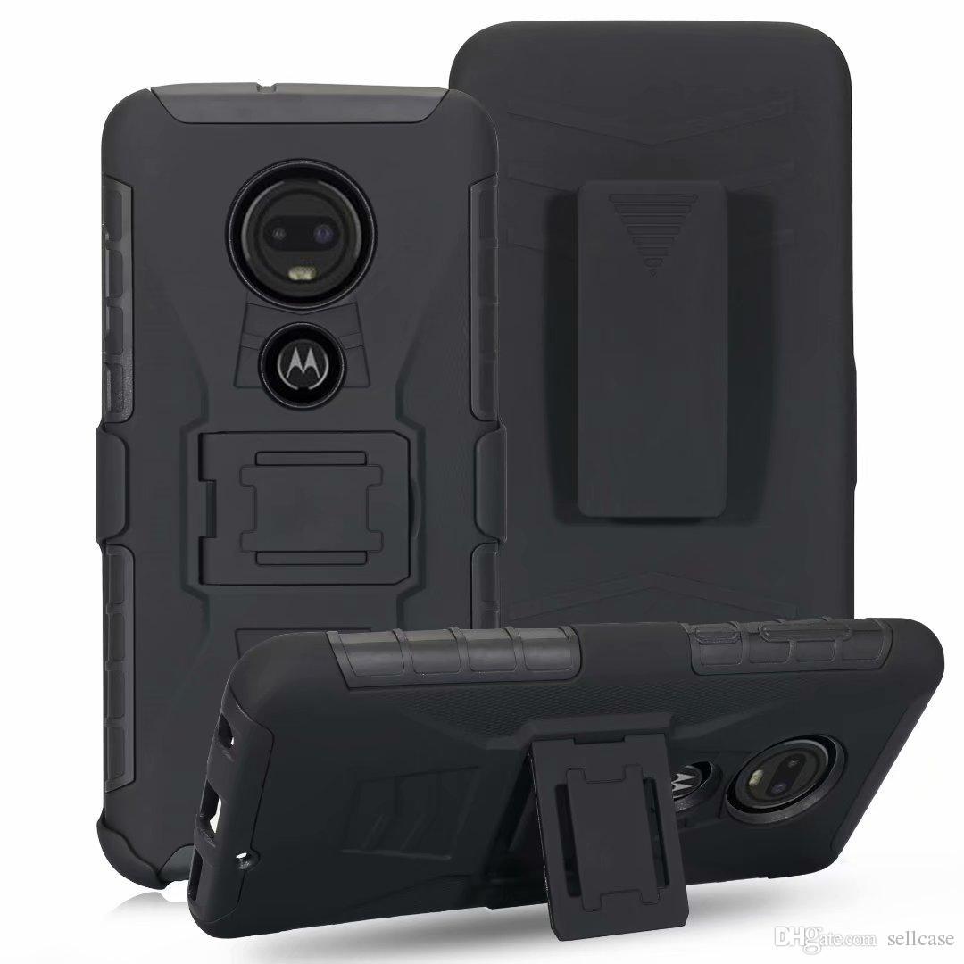 Étui robuste de qualité militaire avec béquille d'étui pivotant pour étrier de ceinture pour Motorola Moto G7 / MOTO G7 POWER / MOTO G7