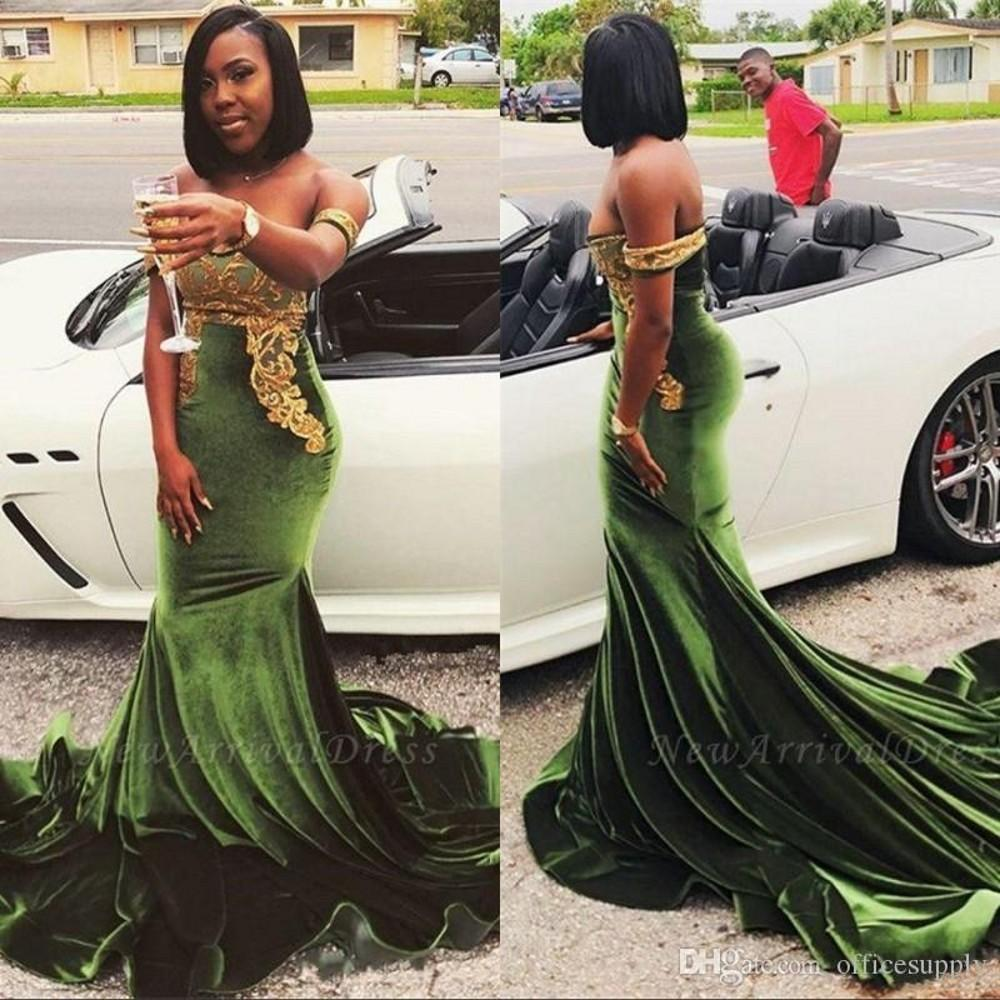 Dark Green Velvet Prom Vintage 2020 Sexy fora do ombro Gold Lace Applique Evening Partido Mermaid vestidos longos ocasião Formal Wear