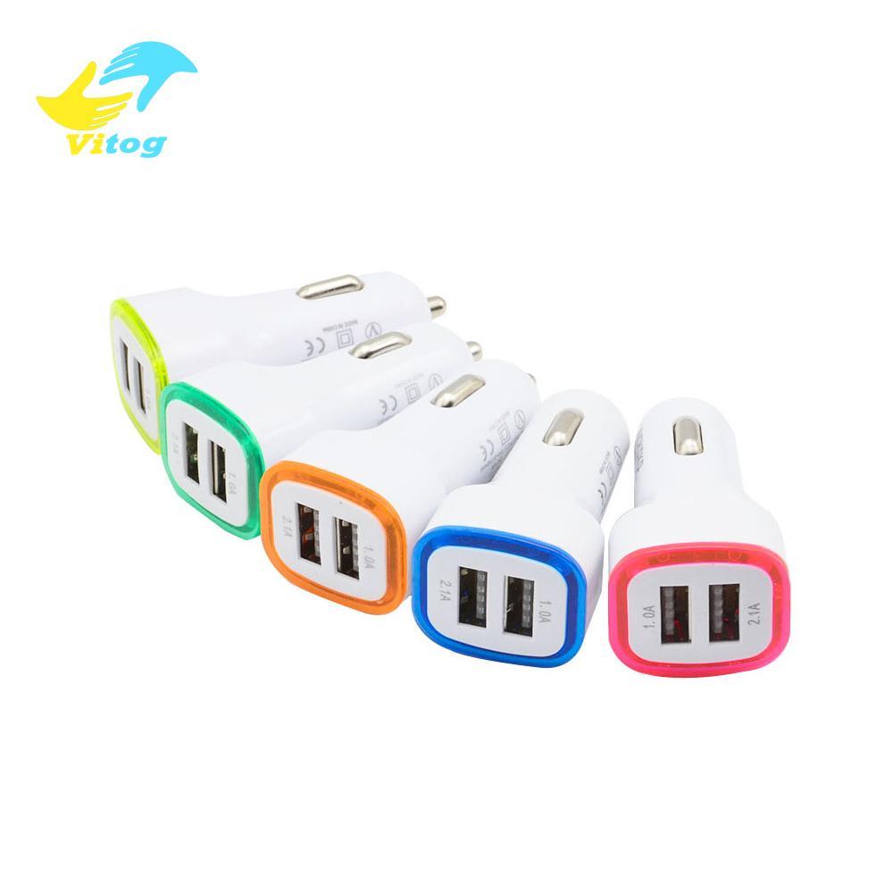 Vitog LED Çift USB Araç Şarj Araç Taşınabilir Güç Adaptörü 5V 1A için Samsung S8 Not 8 şarj cihazı