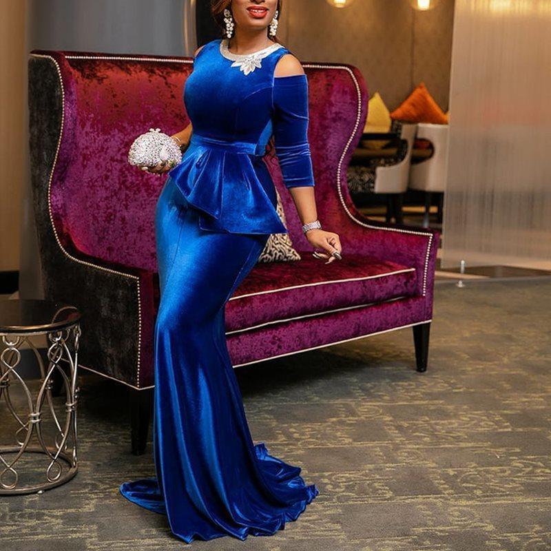 Sexy Royal Blue South African sereia Vestidos de noite formal ombro Prom Vestidos Fria Vestidos mangas compridas de veludo Pedrinhas Pageant partido