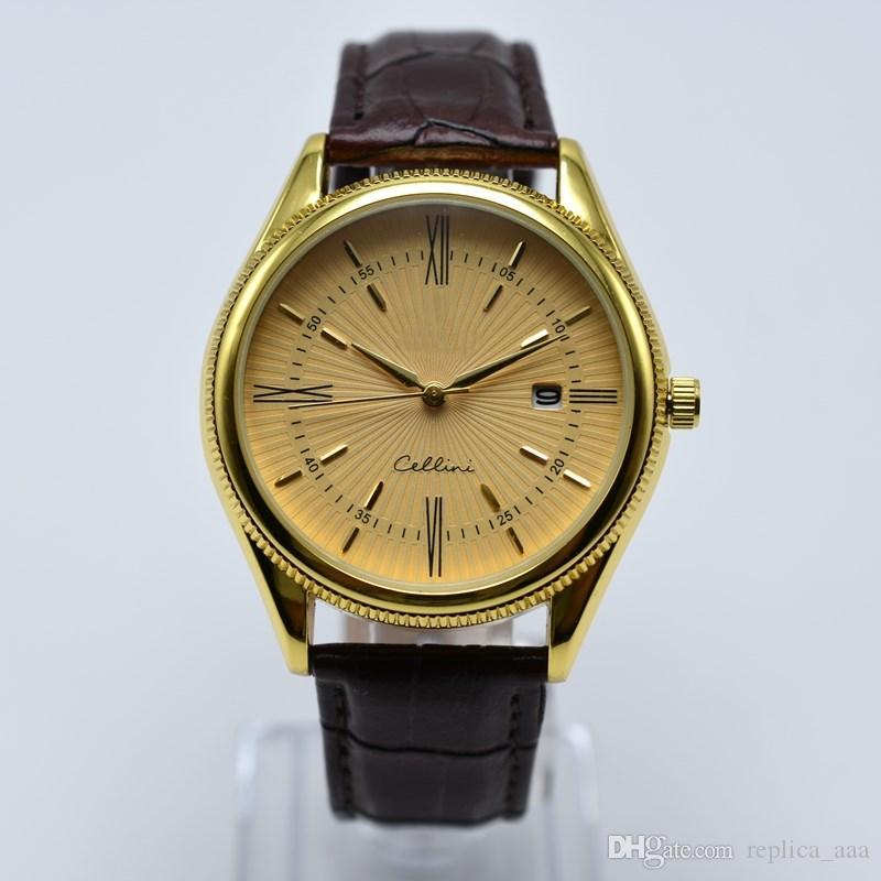 Satışa otomatik tarih moda altın erkekler tasarımcı İzle kuvars deri kemer analog mens saatler toptan erkekler kol hediyeler montre homme