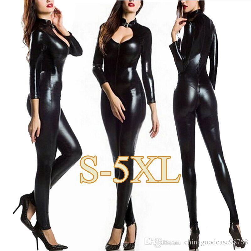 Sıcak PU Deri Catsuit Wetlook Low Cut Elastik Tulum Seksi Kedi Kadın Kostüm Erotik Açık Kasık Fermuar Bodysuit Sexy Lingerie