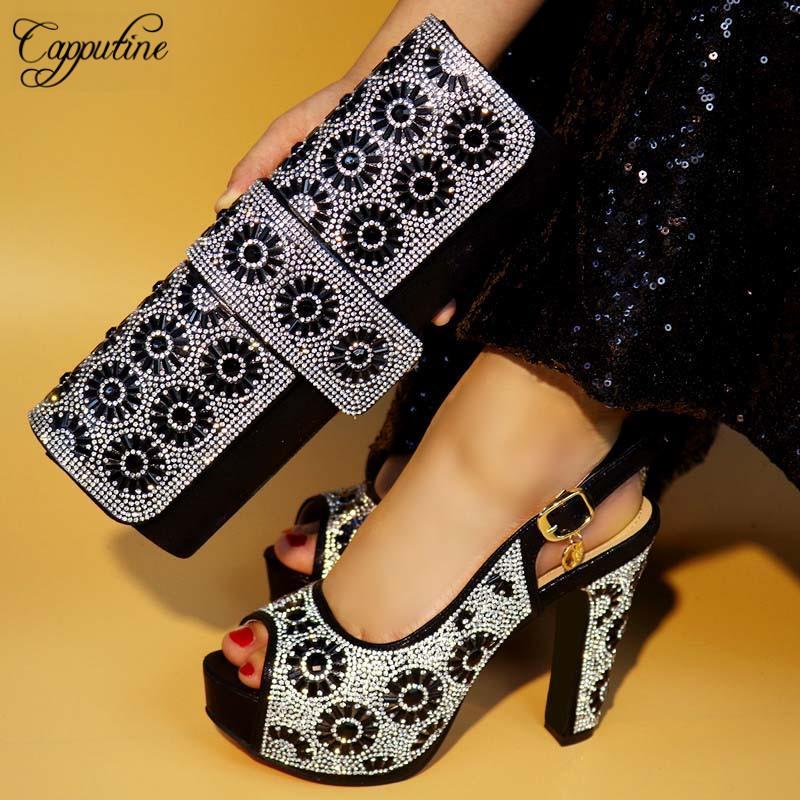 Capputine New 2019 African Design Black Zapatos y bolsos a juego Zapatos de tacón alto de estilo italiano y bolsa para la fiesta de Año Nuevo