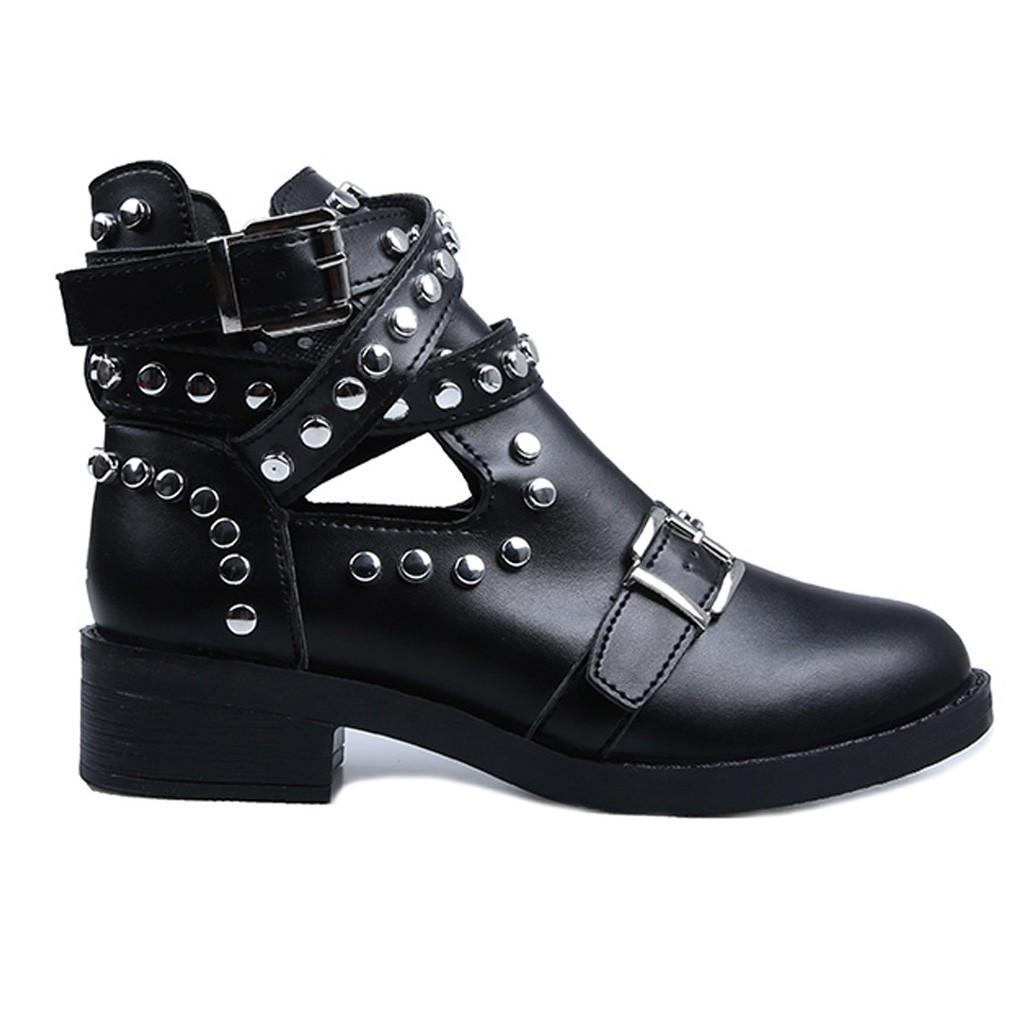 가죽 리벳 오토바이 부츠 여성 2020 고딕 양식의 발목 부츠 봄 섹시한 부팅 낮은 굽 짧은 부팅 카우보이 신발 새로운
