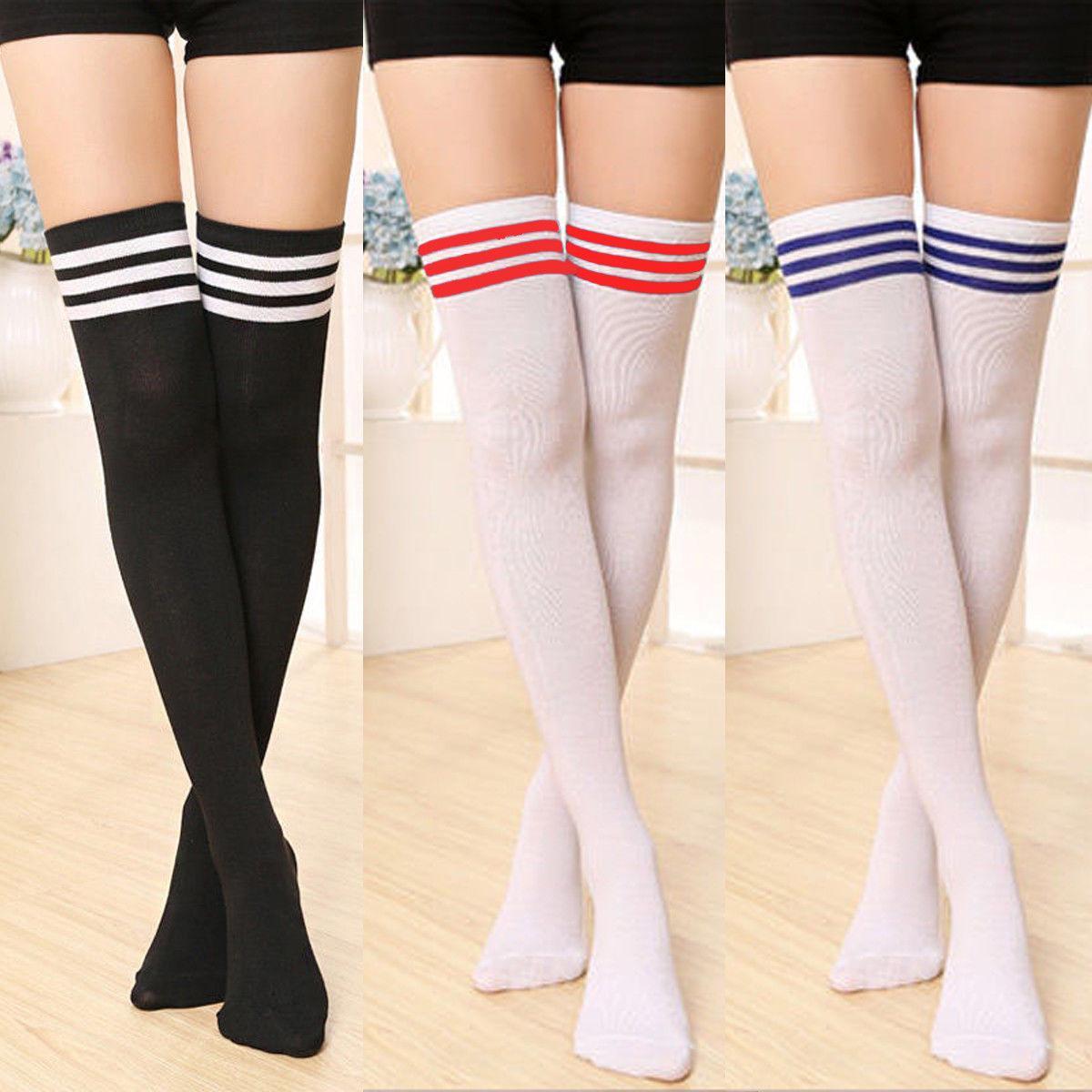 Signora Girls Calze scuola sexy delle donne a strisce sexy opaco Knit lungo stivale sopra il ginocchio coscia alta Stocking