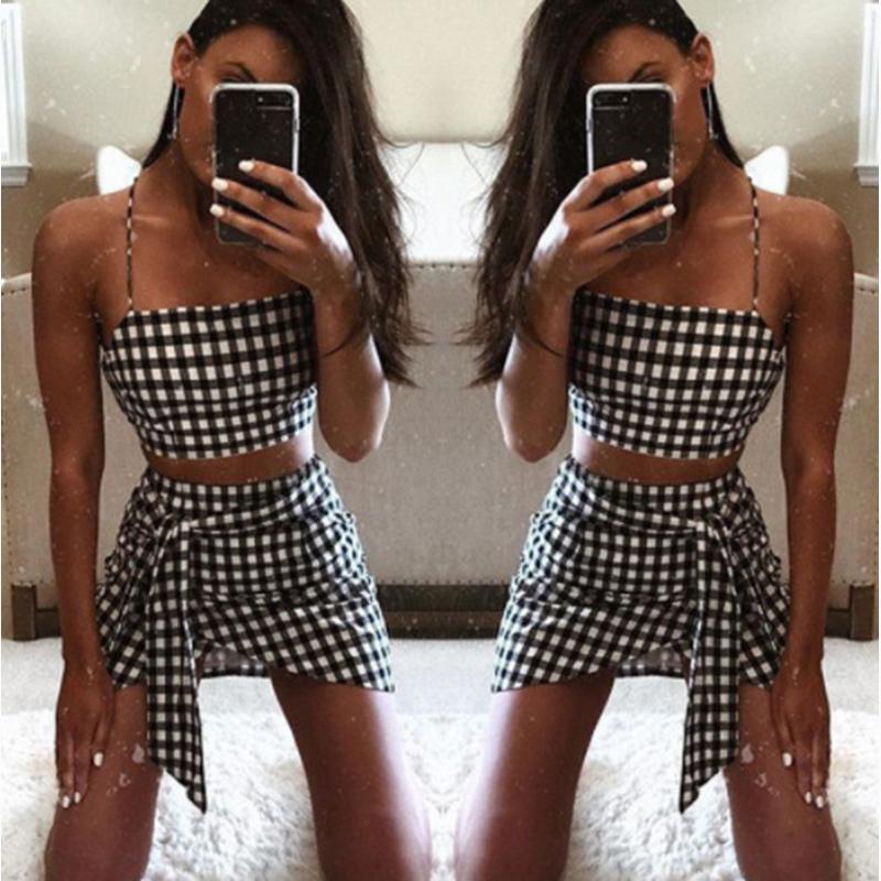Adorável Sling Malha Two Piece Mini Saia Set fastival Roupa Alças 2 Piece Set Conjuntos femininos bandge Clube Outfits 2019 T200623