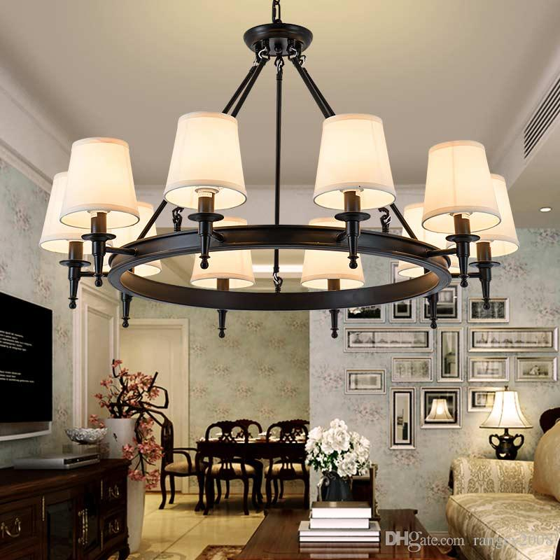 Modern Chandeliers Living Room Bedroom Foyer Light Fixtures Fabric Lampshade Lamp Decor Home Lighting Black Lustre E14 American pendant lamp