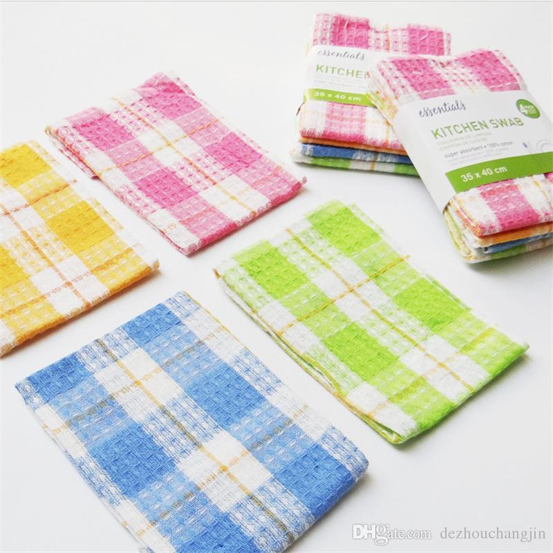 4pcs High Efficent Anti-grease Color Dishine Micrifiber Washing Towel Magic Kitchen Cleaning Wiping Rags الجملة 35 * 50cm