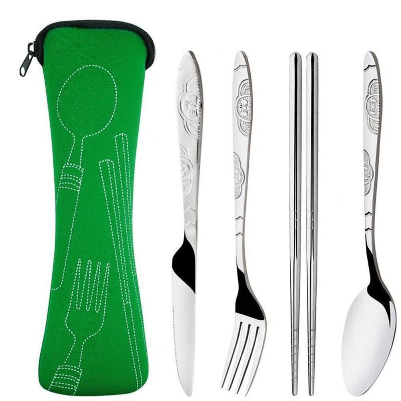 Al por mayor de acero inoxidable palillos cuchara Fork con bolsillo bolso al aire libre del partido Conjunto acampa de los deportes de picnic Vajilla Cubiertos