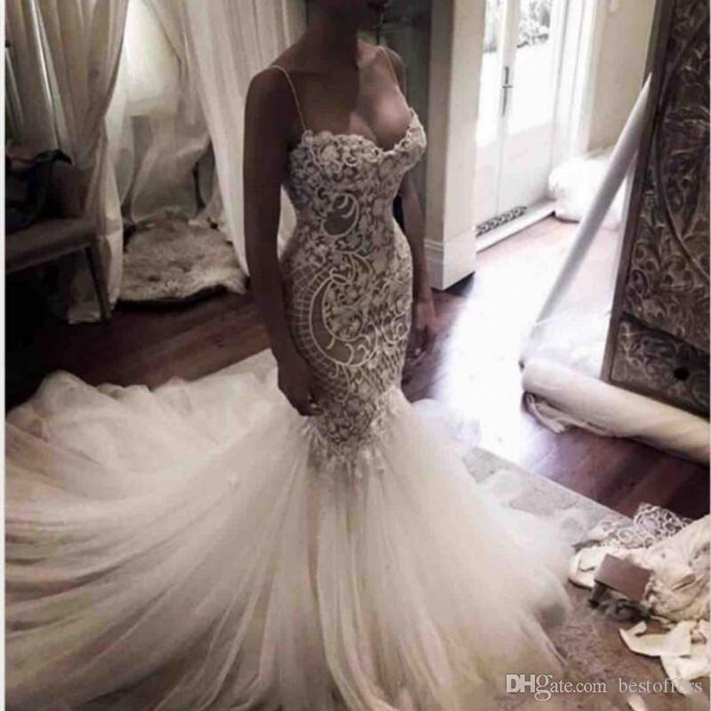 Sexy Nuevo encaje Sirena Vestidos de novia 2019 Spaghetti Straps Illusion Tulle Lace Applique Sweep Tren Boda Boda Bods BCAKS BC1313